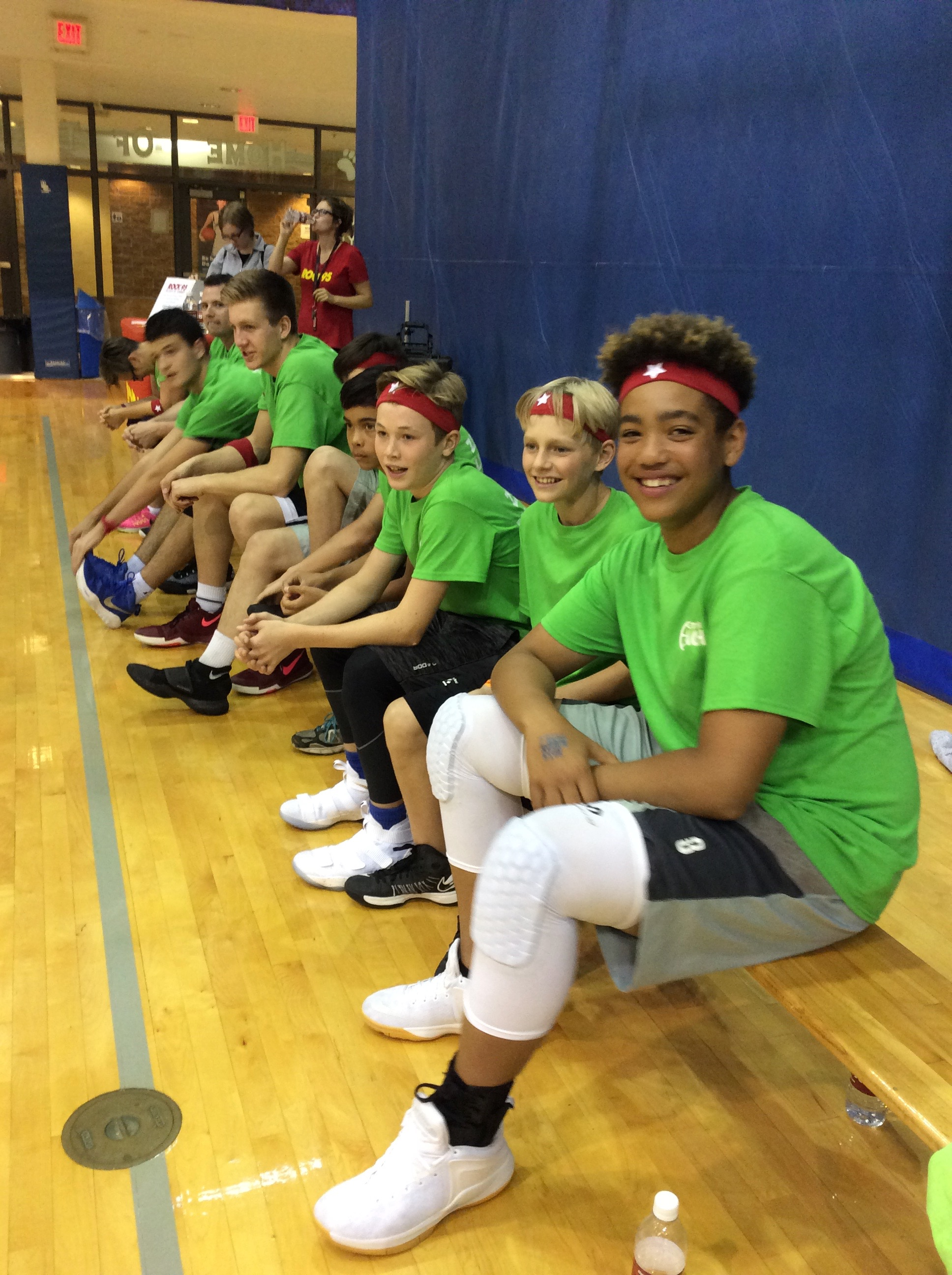 The boys - taking a quick break on the bench!